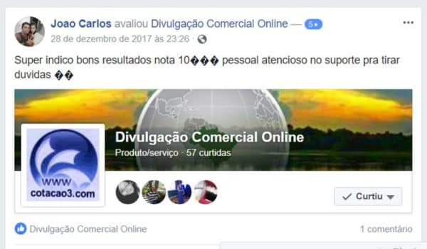 Divulgação Comercial Online Comentários no facebook